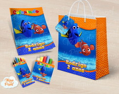 Kit colorir giz massinha e sacola nemo dory