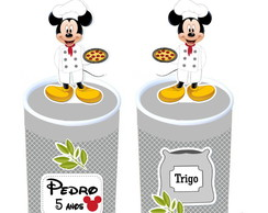 Lata com aplique 3d - Pizzaria do Mickey