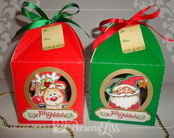 Caixa p/ Mini Panetone Personagens Natal