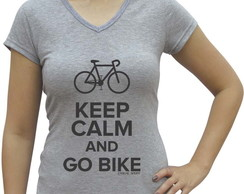Camiseta baby look Casual Sport Keep Calm and Go Bike