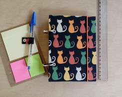 Caderno Argolado Pequeno A6 - Gatos Com Cartela de Post It