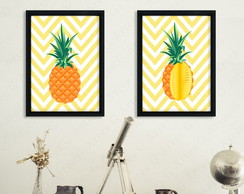 Kit com 2 Quadros Abacaxi cód: 420s1-3 pineapple
