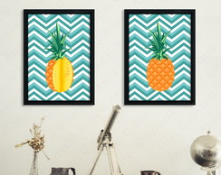 Kit com 2 Quadros Abacaxi cód: 420s4-3 pineapple