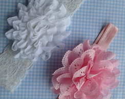 Kit 2 Headbands rosa e branco