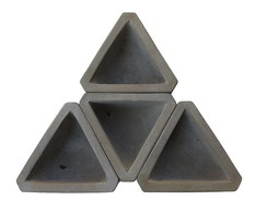 kit 4 unidades - Mini vaso de concreto triangular