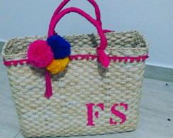 220545e94 Bolsa de palha personalizada com iniciais praia no Elo7 | Beri ...