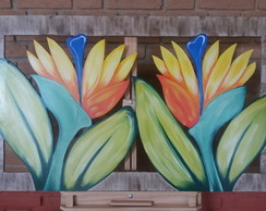 QUADRO PINTURA FLOR AVE DO PARAÍSO