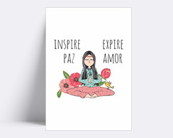 Placa decorativa/ INSPIRE PAZ EXPIRE AMOR 100