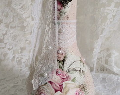 Garrafa Decorada Shabby Chic Beautiful Roses