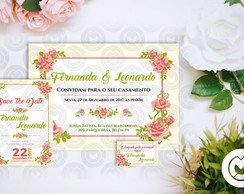 Kit Casamento: Convite, Save The Date e Tag - Digital