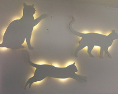 KIT 3 GATOS LUMINÁRIAS MDF LED
