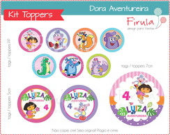 Kit Digital Toppers / Tags Dora Aventureira