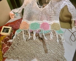 BLUSA BATA DE CROCHE CONJUNTO COM SHORTS E TOP EXCLUSIVO M