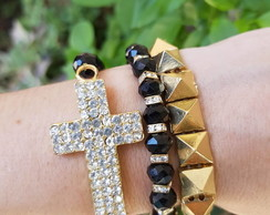 Kit de Pulseiras Cristais de Cruz e Spike