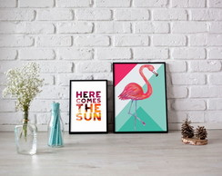 Here comes + Flamingo - Poster Digital