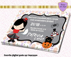 Convite Digital Halloween Vampira