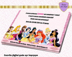 Convite Digital Princesas da Disney