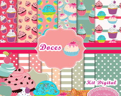 kit digital doces cupcake (01) + kit brinde