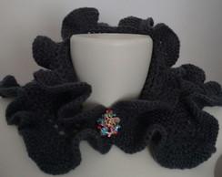 ... Gola de tricô com babado cinza e presilha 3ceaeeb9836