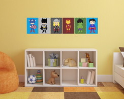 Kit Decorativo - 6 Quadros Super Herois Baby 20x30cm