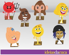 Displays em MDF Festa Mini Totens Emoji