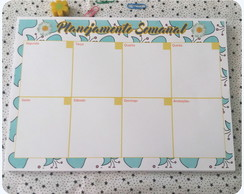 Planner Semanal Azul Floral