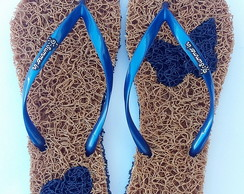 Chinelo Capacho Massageador Summer In-OURO/AZUL