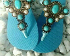 Chinelo cabedal azul