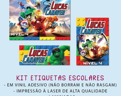 Kit Etiquetas Escolares Lego Marvel Super Heroes