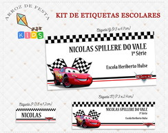 Etiqueta Escolar Carros - Kit 3