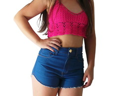 Top -Cropped Crochê Patice Rosa Pink