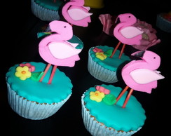 Mini cupcakes abacaxi e flamingos