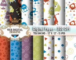 Papel Digital Monsters, - 15 Papeis - CD86