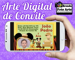 Arte Digital Convite Safari do Mickey Mouse
