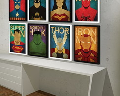 Quadro Decorativo com Moldura 30x40 Geeks Marvel Comics