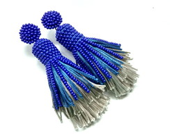 Brinco Tassel de Seda Degradê - Azul Royal
