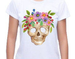 Camiseta Baby Look Caveira Floral 01