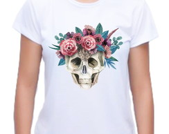 Camiseta Baby Look Caveira Floral 02