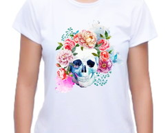 Camiseta Baby Look Caveira Floral 03