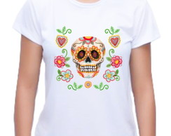 Camiseta Baby Look Caveira Floral 04