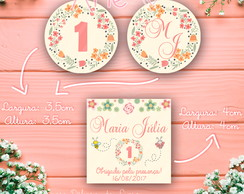 KIT DIGITAL 03 TAGS - Tag/Topper - Tema Jardim (1 ano)