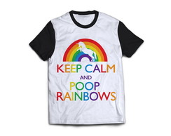 Camiseta keep calm and poop rainbows unicornio Camisa Blusa