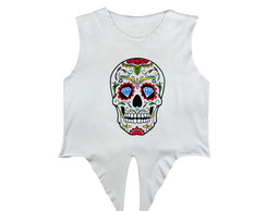 Cropped Estampa Old Skull Colors