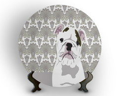 Prato Porcelana Decorativo Bulldog