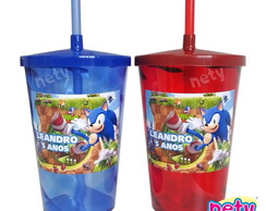 10 copo shake twister Sonic The Hedgehog com canudo 700ml