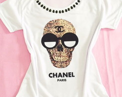 Baby look Customizada - Chanel Caveira