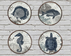 4 Placas Redondas Decorativas Postal Beach