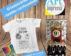 Kit Camiseta de Colorir + Lata Harry Potter
