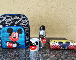 Kit Mochila Pequena Escolar Costas Mickey Minnie