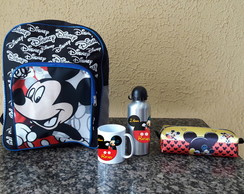 Kit Mochila Grande Escolar Costas Mickey Minnie